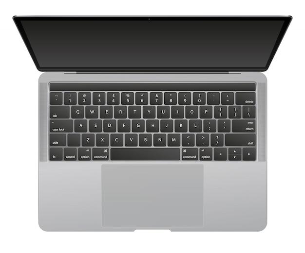 Moderne glanzende laptop die op witte achtergrond wordt geïsoleerd.
