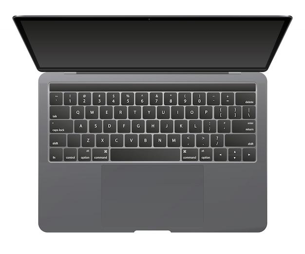 Moderne glanzende laptop geïsoleerd op een witte achtergrond.