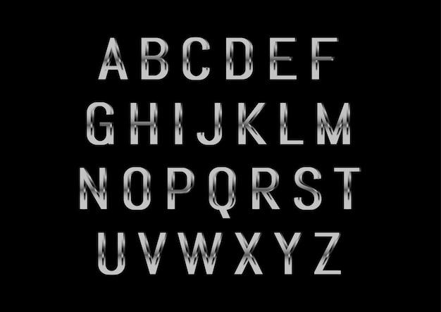 Moderne glanzende zilveren alfabetten set