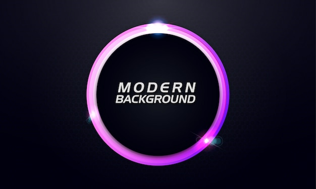 Moderne gloedcirkel op donkere achtergrond