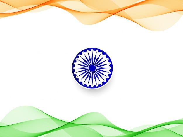 Moderne golvende indiase vlag ontwerp achtergrond