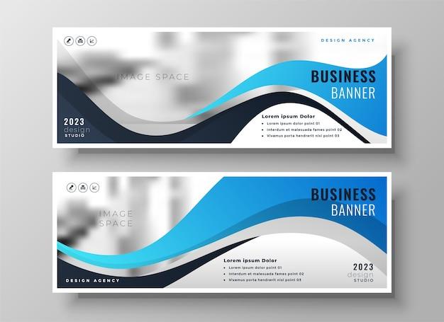 Moderne golvende zakelijke blauwe brede facebook-omslag of koptekstset van twee