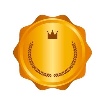 Moderne gouden cirkel metalen badge, label en ontwerpelementen. vector illustratie.