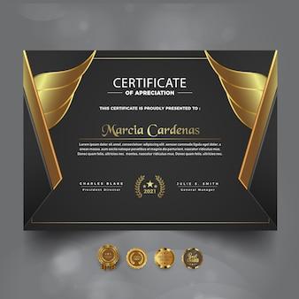 Moderne gouden prestatiecertificaat nieuwe sjabloon