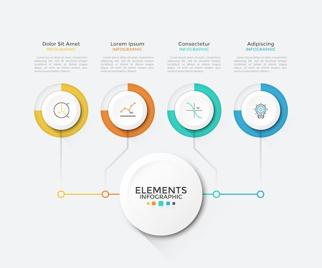 Moderne grafiek met 4 ronde papieren witte elementen verbonden met de hoofdcirkel. schone infographic ontwerpsjabloon. vectorillustratie voor bedrijfsregeling, visualisatie van opstartprojectfuncties.