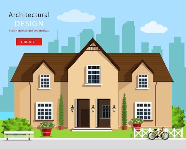 Moderne grafische architectuur. kleurrijke set: huis, bankje, erf, fiets, bloemen en bomen. huis bouwen. leuk huis.