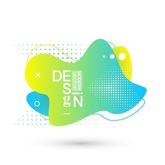Moderne grafische ontwerpelementen in de vorm van vloeiende klodders met geometrische lijnen. gradiënt blauwe en groene, rode en violette geometrische vormen. vloeibare vlek met dynamische kleur voor flyer, presentatie.