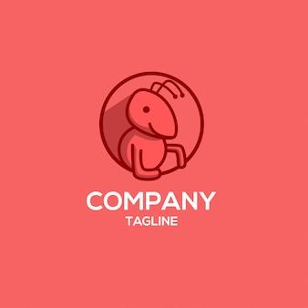 Moderne grappige rode mier logo sjabloon