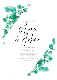 Moderne groen eucalyptus blad bruiloft uitnodigingskaart.