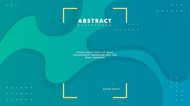 Moderne groenachtig blauwe abstracte achtergrond met vloeibare en vloeibare stijl