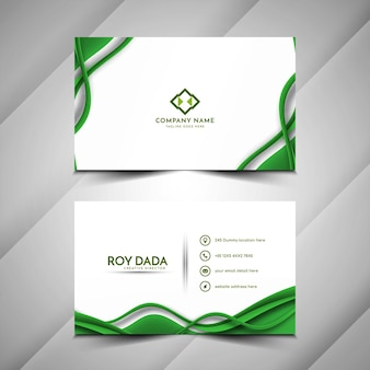 Moderne groene kleur golf stijl visitekaartje ontwerp vector