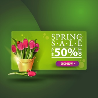 Moderne groene lente verkoop banner met boeket van tulpen