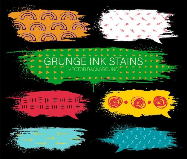 Moderne grunge set van inkt chat vlekken met hand tekening texturen