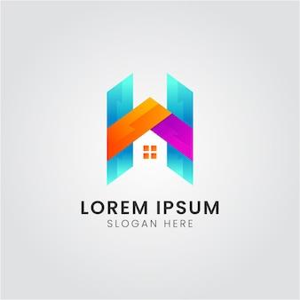 Moderne h-brief met huispictogram logo-ontwerp premium vector