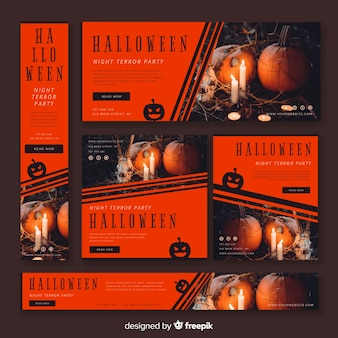 Moderne halloween-banners met realistisch ontwerp