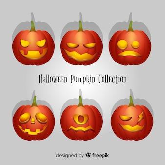 Moderne halloween-pompoeninzameling met realistisch ontwerp