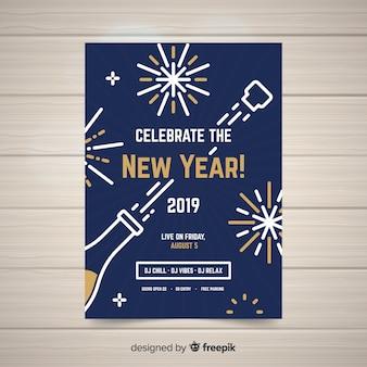 Moderne hand getekend nieuwjaarsfeest poster