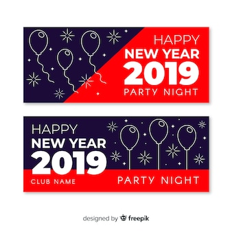 Moderne hand getrokken 2019 nieuwe jaarfeest banners