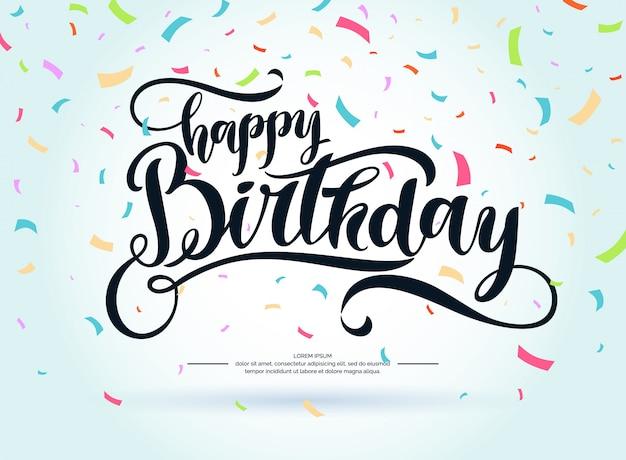 Moderne hand getrokken belettering happy birthday. handgeschreven opschriften voor layout en sjabloon. illustratie