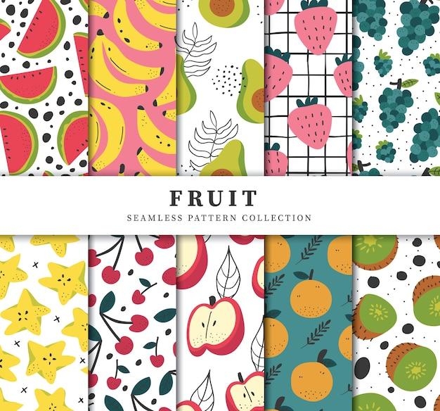 Moderne hedendaagse kleurrijke handgetrokken vruchten naadloze patrooncollectie
