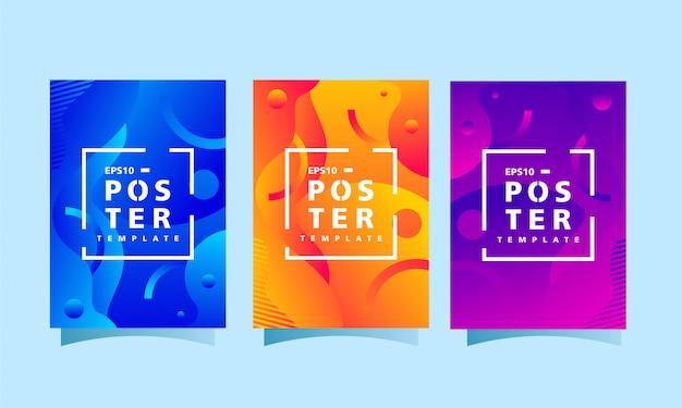 Moderne het malplaatjeinzameling van het afficheontwerp met kleurrijke abstracte achtergrond