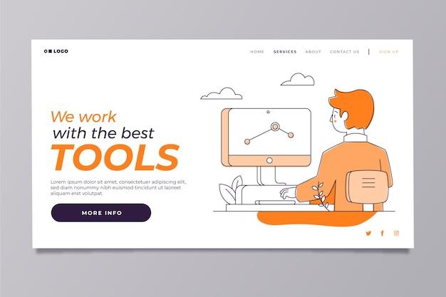 Moderne homepage sjabloon met man aan het werk