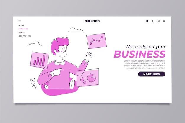 Moderne homepage sjabloon met man multitasking