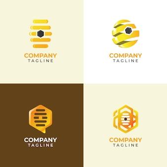 Moderne honingraatlogo-collectie