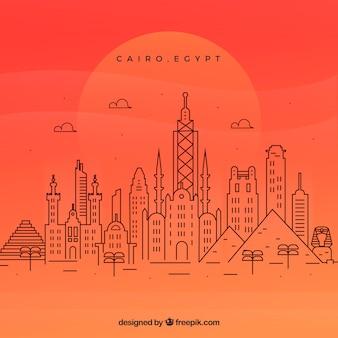 Moderne horizon van kaïro met lineaire stijl