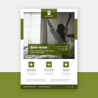 Moderne hotel folder sjabloon met foto