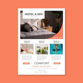 Moderne hotel folder sjabloon met foto Premium Vector