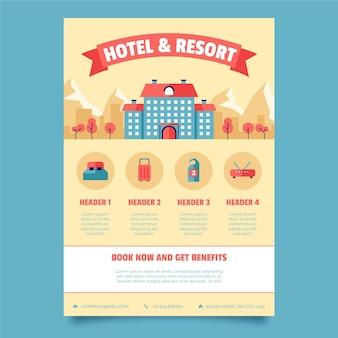 Moderne hotel folder sjabloon met illustratie