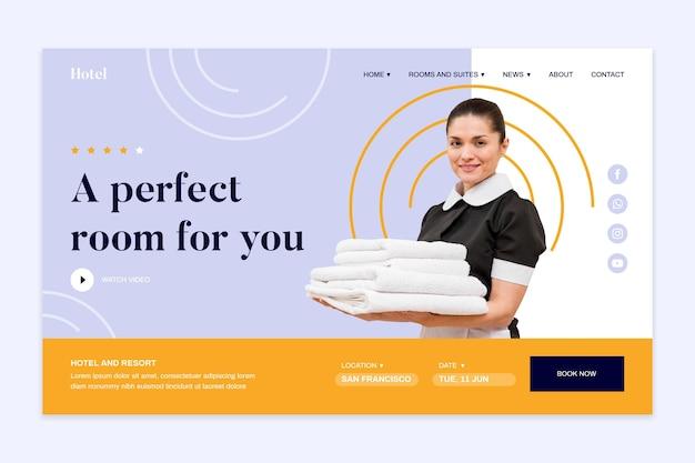 Moderne hotellandingspagina-sjabloon met foto