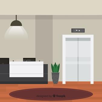 Moderne hotelreceptie met platte vormgeving