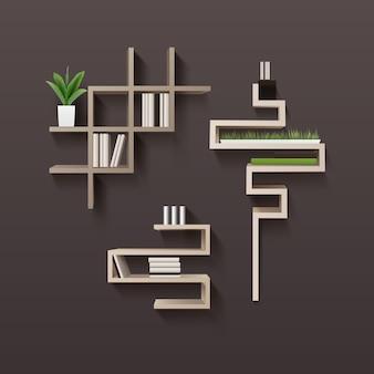 Moderne houten boekenplank met boeken en planten in interieur
