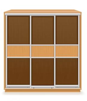 Moderne houten meubilairgarderobe met schuifdeuren vectorillustratie