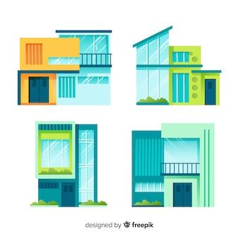 Moderne huisvestingsinzameling met vlak ontwerp