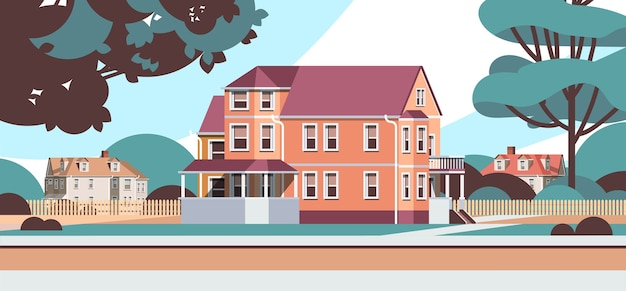 Moderne huizen landhuizen gebouwen exterieur landschap in de voorsteden
