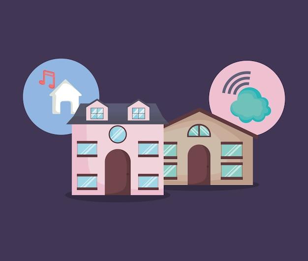 Moderne huizen met slimme thuis gerelateerde pictogrammen
