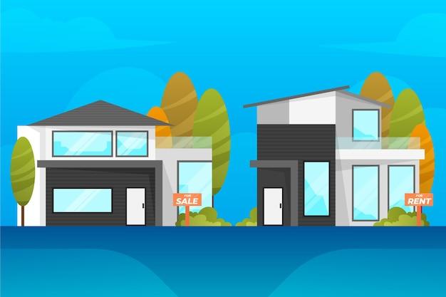 Moderne huizen verkoop en huur concept