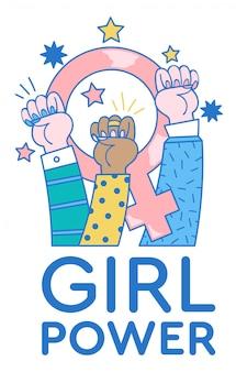 Moderne illustratie met drie vrouwelijke handen omhoog die vuisten van protest voor vrouwenrecht tonen en met feminismeteken binnen.