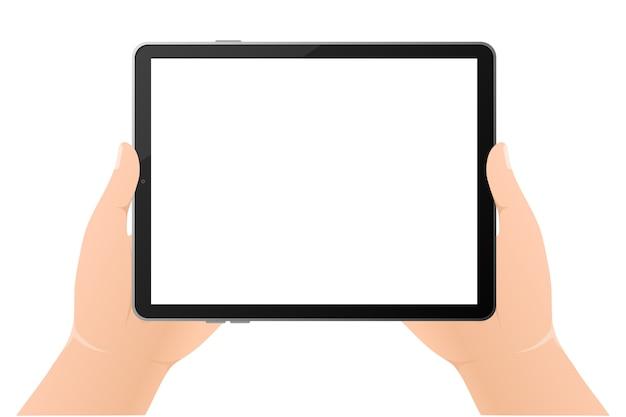 Moderne illustratie met zwarte lege tablethanden op witte achtergrond. digitale technologie. moderne illustratie. web.