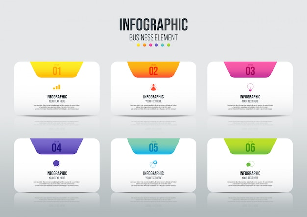 Moderne infographic bedrijfssjabloon en datavisualisatie met 6 opties.