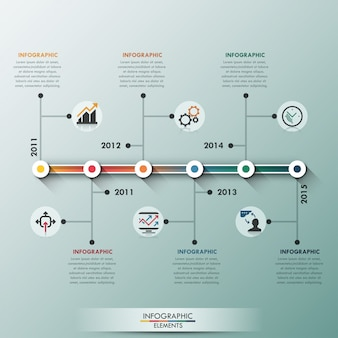 Moderne infographic lineaire tijdlijn