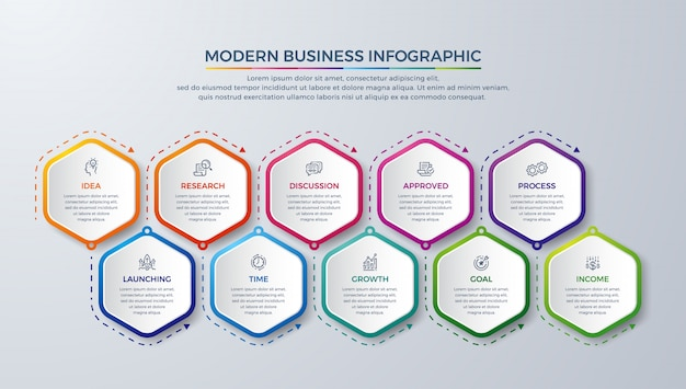 Moderne infographic met 10 stappen