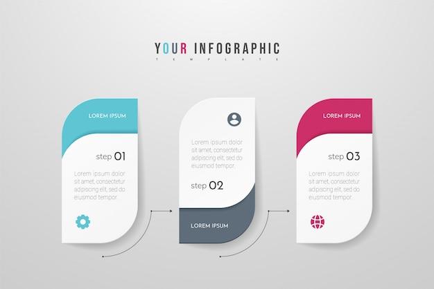 Moderne infographic met drie stappen of verwerkt elementen. business concept tijdlijn