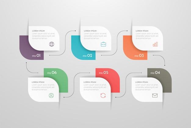 Moderne infographic met zes stappen of verwerkt elementen. business concept tijdlijn