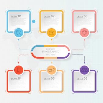 Moderne infographic met zes stappen