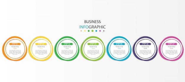Moderne infographic met zeven stappen of opties