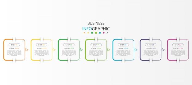 Moderne infographic met zeven stappen
